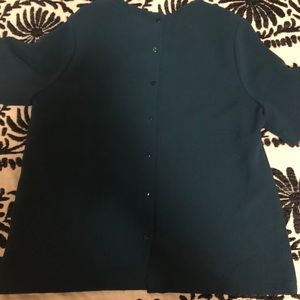 Dark blue back button down dress top